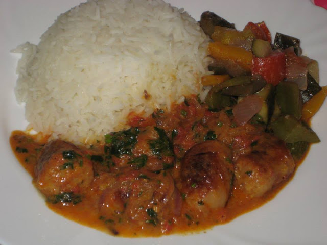 Curry sausage stew with rice recipe