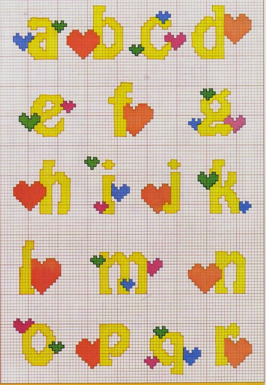 Professione donna schemi a punto croce alfabeto con i for Lettere a punto croce schemi