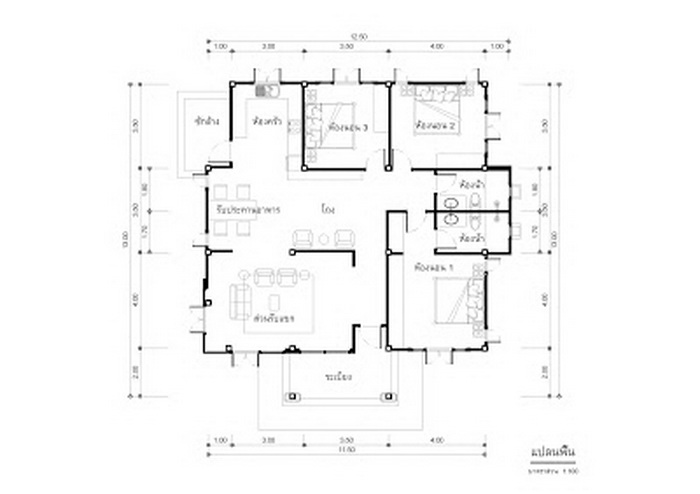 Designing houses and distributing space based on the demand and needs of the people residing there is what intelligent design is all about. Not only do you have to concentrate on style and design but the functionality of each component.  It is very important to keep focus when it comes to a nice home. While value and financial considerations are big factors, a realistic and practical design makes a simple idea exceptional. If you are looking for a single-storey house, here are some design ideas that include floor plans. HOUSE FLOOR PLAN NO. 1    One-story house with a hip. The house has three bedrooms, two bathrooms and 90 square meters of living space. The budget is 950,000 baht or 28,600 US Dollars.                                            HOUSE FLOOR PLAN NO. 2    The house consists of three bedrooms, two bathrooms, a kitchen, a  living room with a 110 square meters of living space and a budget of 1.25 -1.3 million Baht or 37,700 - 39,300 US Dollars.                                        HOUSE FLOOR PLAN NO. 3    This is a single-storey house that consists of three bedrooms, two bathrooms, one kitchen, a living room and a living area of 132 square meters.                                        HOUSE FLOOR PLAN NO. 4    This house consists of two bedrooms, 1 bathroom, a kitchen and a living area.                                                                     SOURCE: naibann This article is filed under: small house floor plans, small home design, small house design plans, small house architecture, beautiful small house design, small house plans modern    SEE MORE: