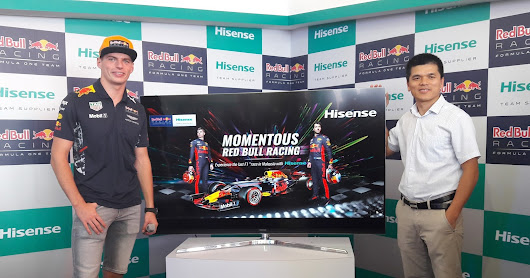 "Hisense Malaysia showcase the Hisense 4K ULED TV 65"" Series 8 at the Malaysia Grand Prix F1nale with Max Verstappen, Red Bull Racing Driver"