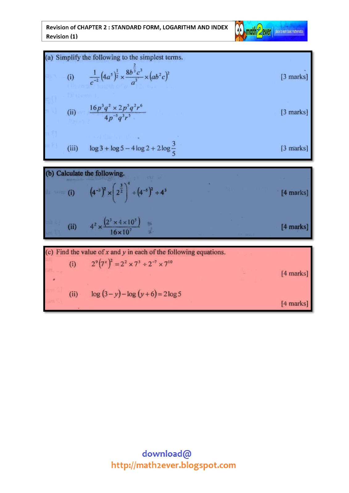 Standard Form Logarithm And Index Revision 1