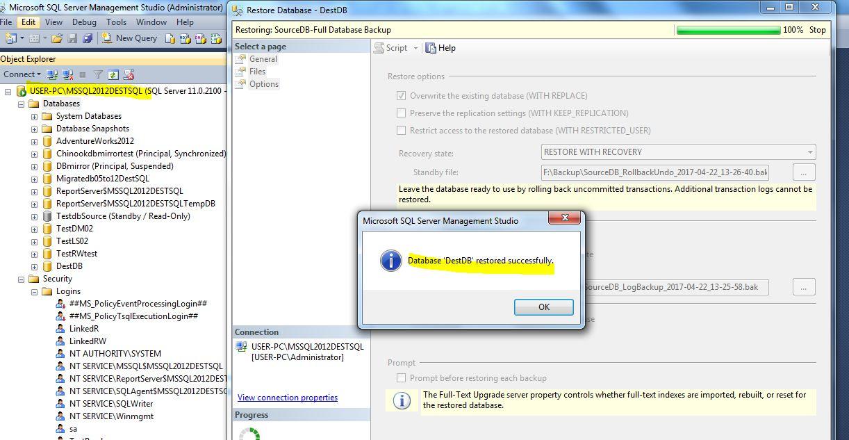 Sql server restore logins from backup