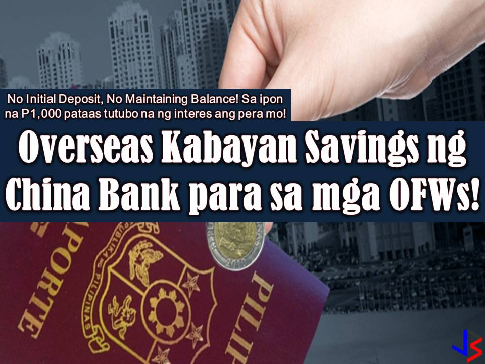 One of the best banks in the Philippines that offers a good option to Overseas Filipino Workers (OFW) is the Chinabank through its Overseas Kabayan Savings. By opening this savings account, you can start saving money for your future or retirement as OFW at the same time, send money to your family in the Philippines. Having a savings account for OFWs is very important because working abroad is not permanent.