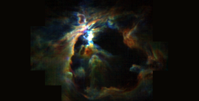 The powerful wind from the newly formed star at the heart of the Orion Nebula is creating the bubble (black) and preventing new stars from forming in its neighborhood. At the same time, the wind is pushing molecular gas (color) to the edges, creating a dense shell around the bubble where future generations of stars can form. Credit: NASA/SOFIA/Pabst et al.