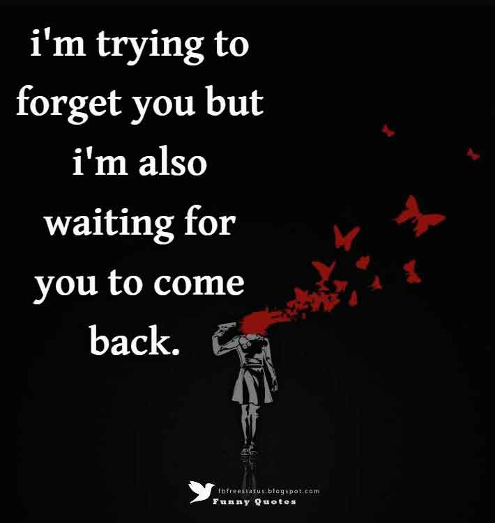 i'm trying to forget you but i'm also waiting for you to come back.