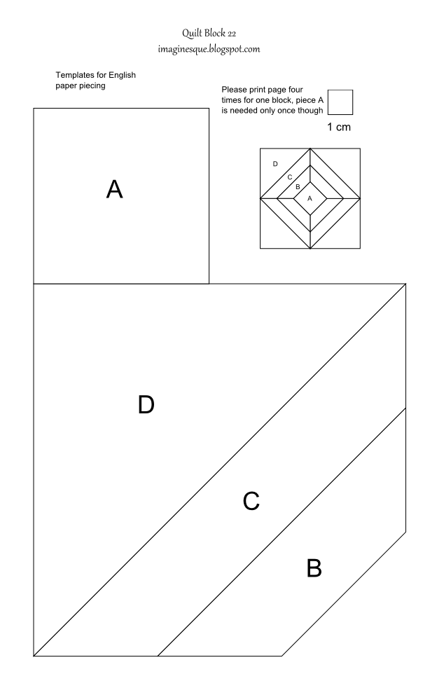 imaginesque  quilt block 22  templates for hand piecing