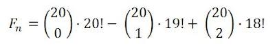 F(n) = 20! - 20·19! = C(20,0) ·20! - C(20,1)·19! + C(20,2)·18!