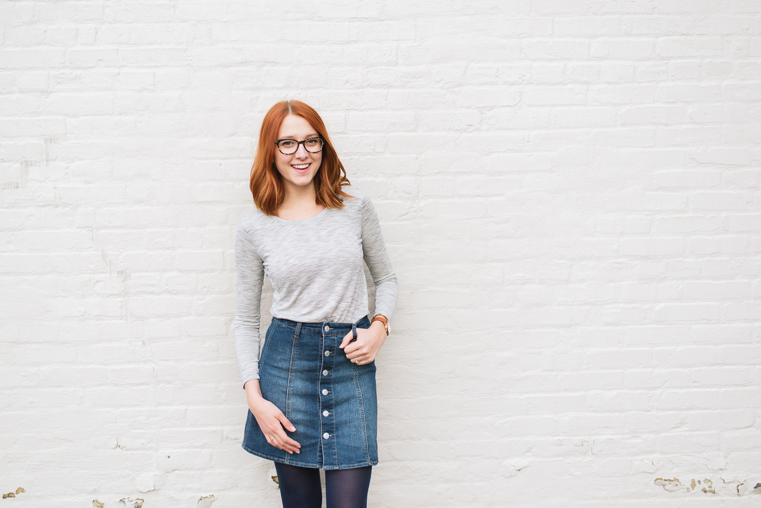 Beautyosuaurs Lex-Alex Good-Style Blog-Spring Outfit-Denim Skirt-Striped Shirt-Madewell Anthem Shirt-Warby Parker Finch Glasses-Nine West Loafers-Nixon Rose Gold Kensington