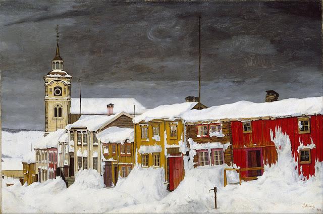 Harald Sohlberg  Après la tempête de neige ; rue de Roros peintre norvégien mouvement néo-romantique