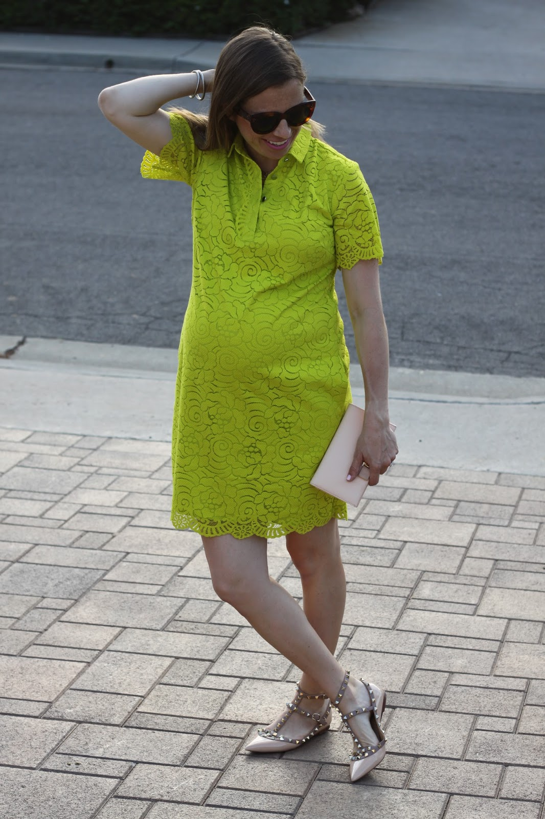 maternity lace dress and rockstuds