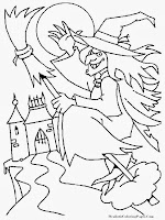 Witch Flying To The Moon Celebrating Happy Halloween Coloring Sheet