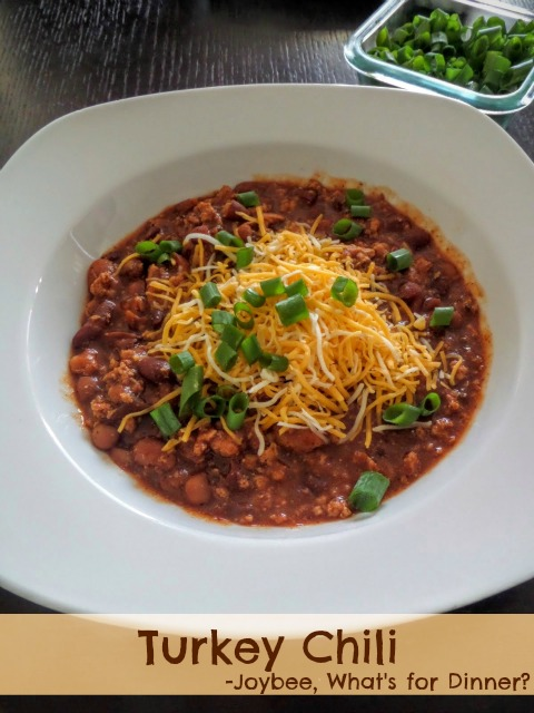 Turkey Chili:  A spicy chili made with ground turkey, beans, and chili pepper sauce.  Using a tried and true recipe.