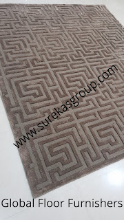 finished hand-tufted rug in wool and silk ready for despatch