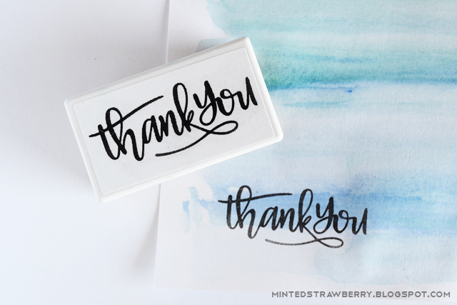 thank you stamp calligraphic on watercolor paper