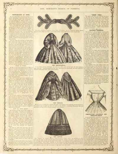 Pattern portion of M'me Demorest's Quarterly Mirror of Fashions  November 1863