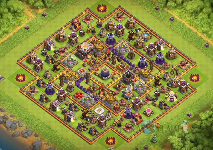 Base Hybrid TH 11 COC Update Bomb Tower Terbaru 2017 Tipe 4