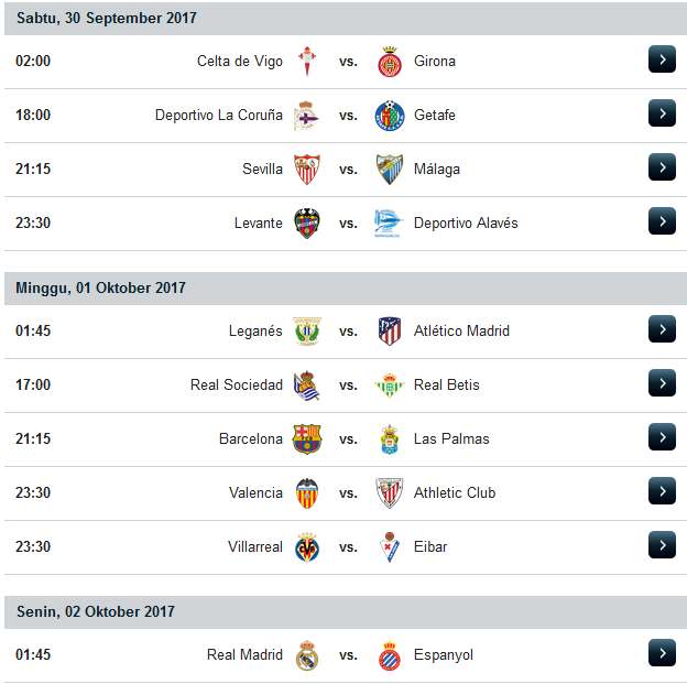 Jadwal Liga Spanyol Musim 2017/2018 Minggu Ke 7
