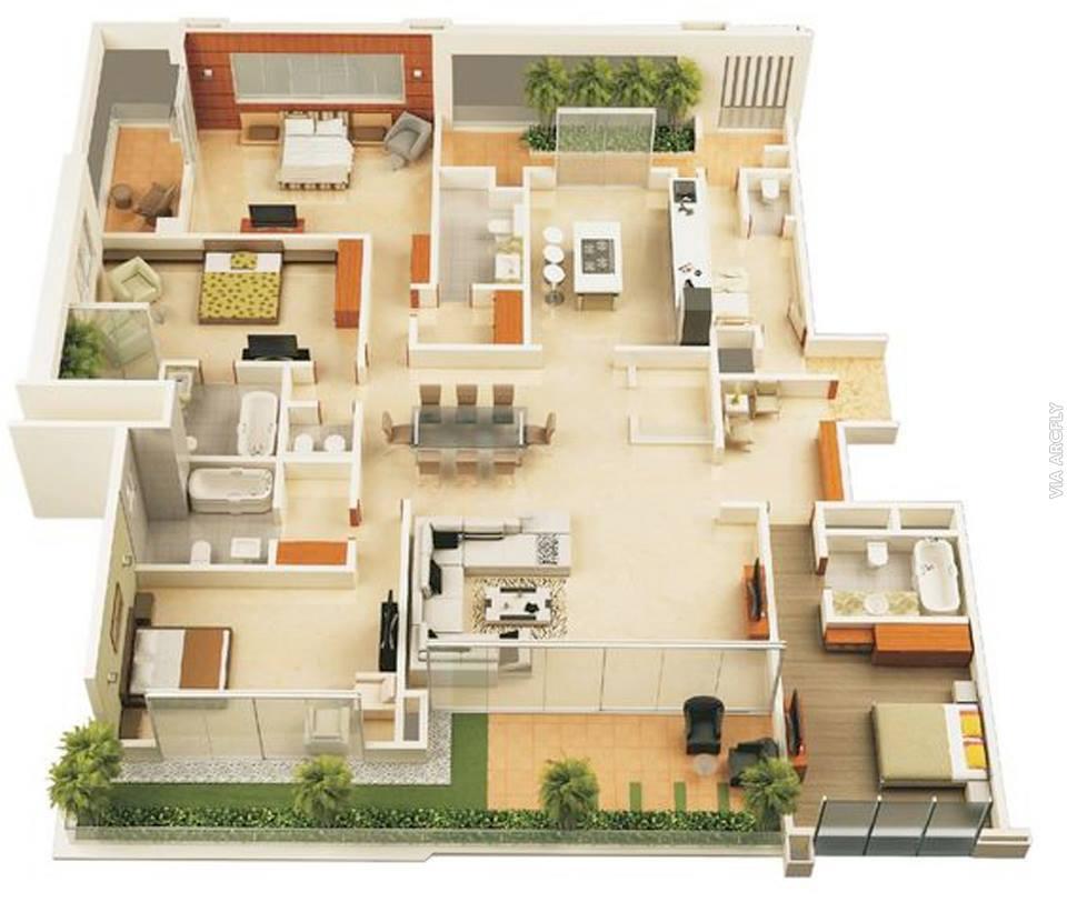 50 Denah Rumah Minimalis 3D 3 Kamar Tidur 2 Lantai dan 2 Kamar