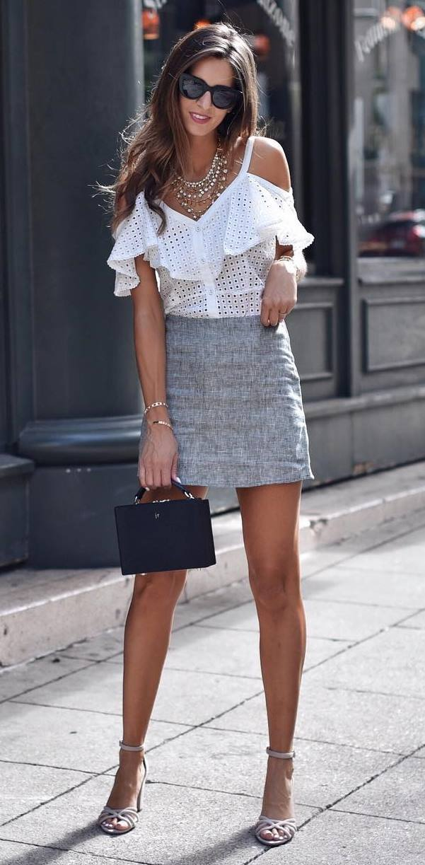 great summer outfit idea / black bag + heels + grey skirt + ruffle top