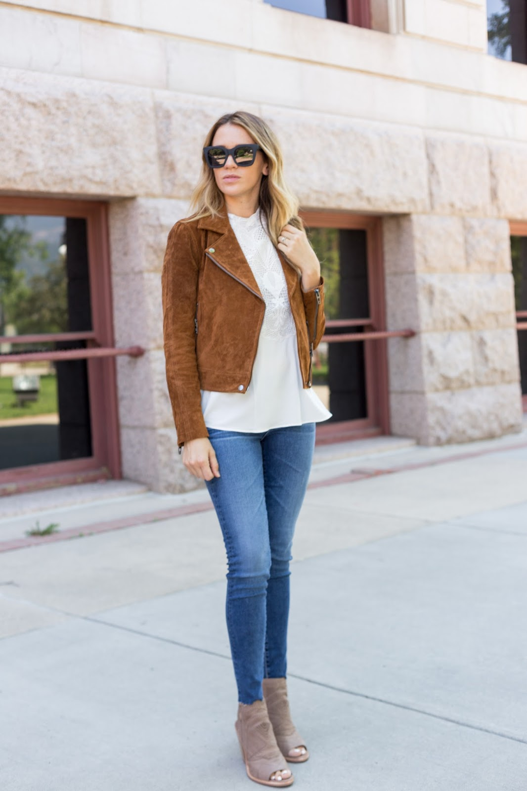 Best Suede Jacket for Fall = The Must Have Brown Suede Jacket For Fall by Colorado fashion blogger Eat Pray Wear Love