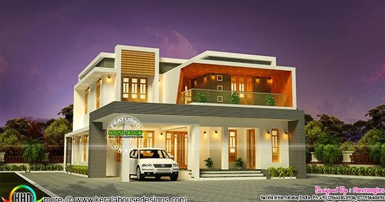 Attractive contemporary style home 2194 sq ft kerala for Ground floor vs first floor