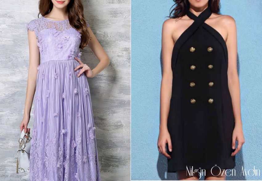 Black Open Back Dress and Deep Purple Dress