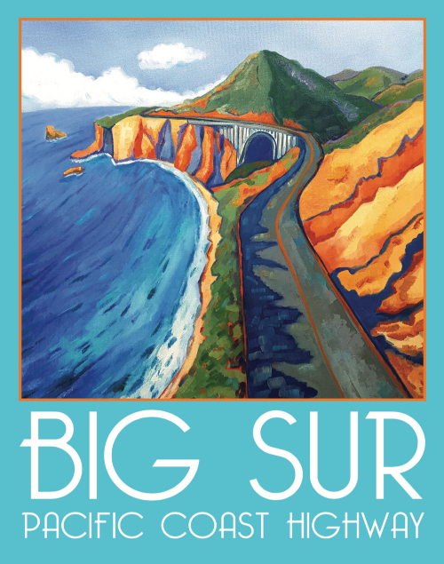 California Textual Painting Art Print Big Sur Pacific Coast Highway