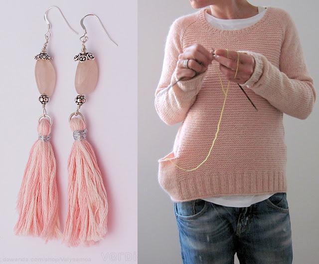 orecchini quarzo rosa nappa