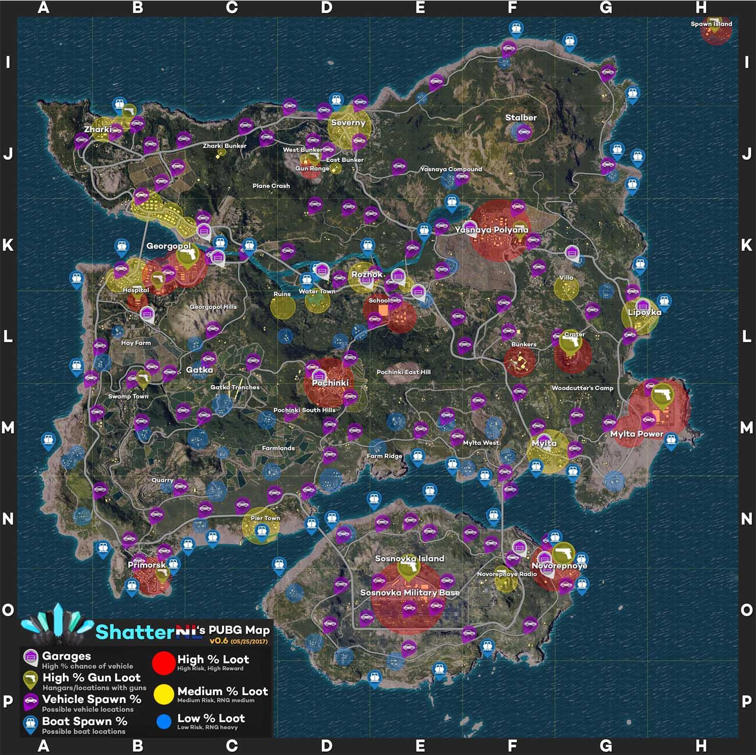 نصائح ماهي افضل المواقع الجغرافية للنزول في لعبة PUBG للايفون والاندرويد