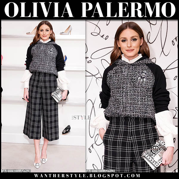 Olivia Palermo in black boucle karl lagerfeld hoodie, black check dior pants and white pumps manolo blahnik hangisi winter party style november 14