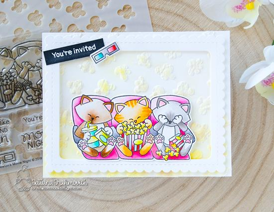 Cats and Movie card by Tatiana Trafimovich  Newton's Movie Night Stamp Set, Popcorn Stencil, and Frames & Flags Die Set by Newton's Nook Designs #newtonsnook #handmade