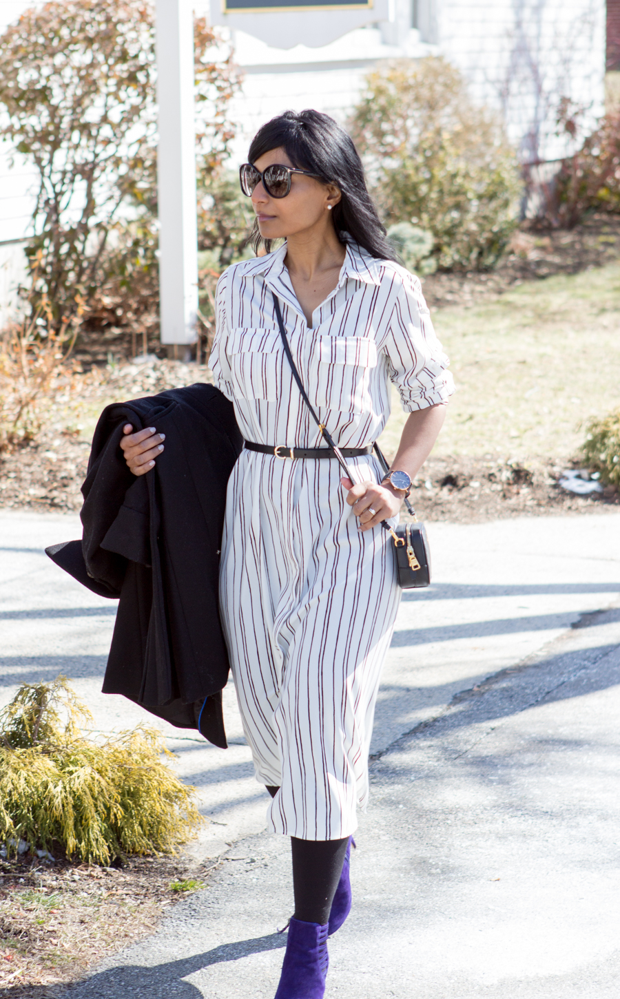 shirtdress, pinstripe, silky dress, midi, booties, via spiga, cluse watch, prada camera bag, black trench, belted dress
