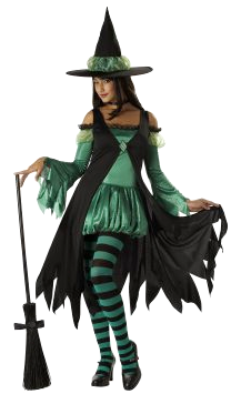 Foto de mujer con disfraz de bruja con su escoba para Halloween color negro y verde