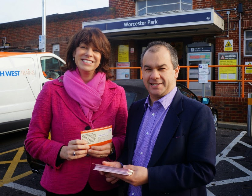 Transport Minister Claire Perry and Paul Scully at Worcester Park station