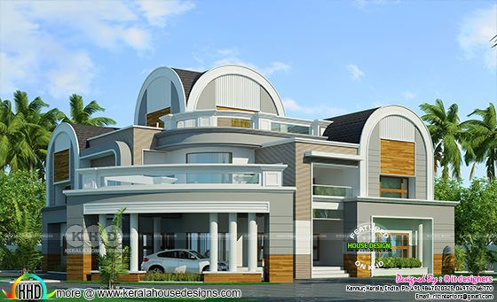 Round roof unique 6 bedroom house plan