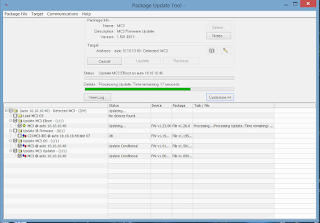 image of crestron mc3 package update tool progress