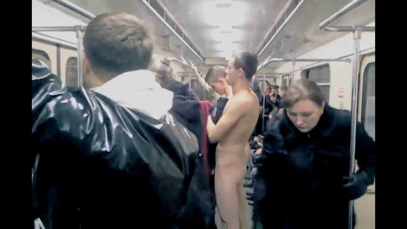 nude dude in subway