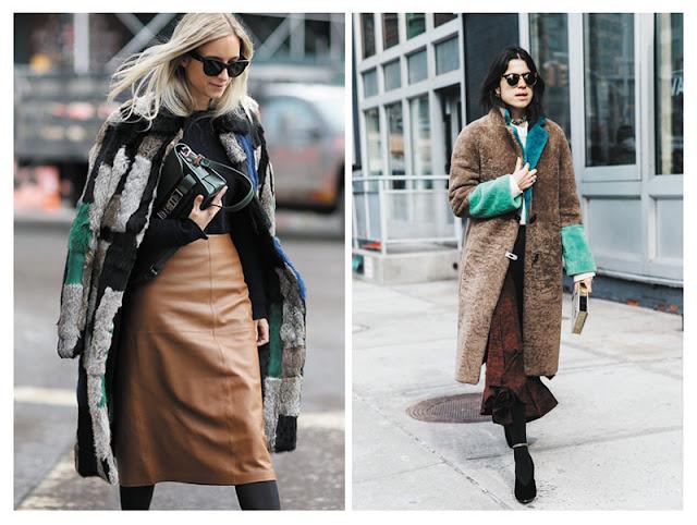 Пальто из цветного меха с кожаной юбкой и шуба в стиле колор блок