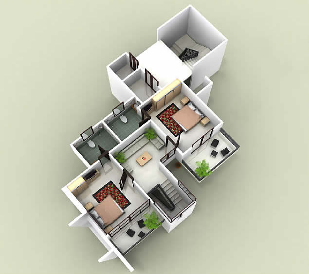 Foundation Dezin & Decor...: 3d Duplex Building