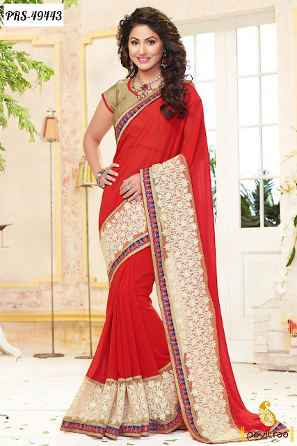 Diwali festival and wedding wear Akshra Hina Khan special red net designer saree online shopping with discount at pavitraa.in