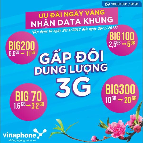 Vinaphone khuyến mãi nhân đôi data 3G BIG ngày 24, 25/1/2017