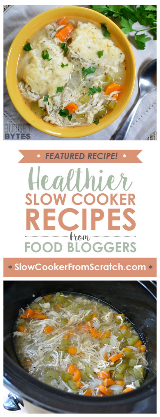 Slow Cooker Chicken and Dumplings from Budget Bytes featured on SlowCookerFromScratch.com