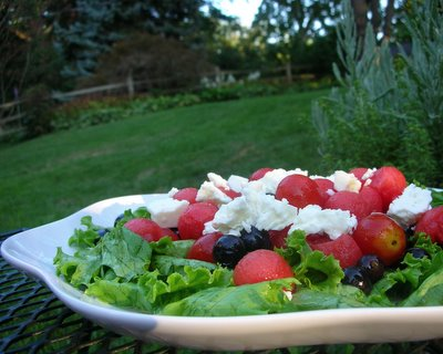 Melon, Blueberry & Feta Salad with Honey Lime Vinaigrette, another easy summer salad ♥ AVeggieVenture.com, just melon balls and bluberries in a gorgeous dressing. Summer Classic. Weeknight Easy, Weekend Special. Scales from Small Plates to Large Platters. Naturally Gluten Free.