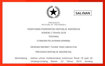 PP tentang Standar Pelayanan Minimal (SPM) No 2 tahun 2018