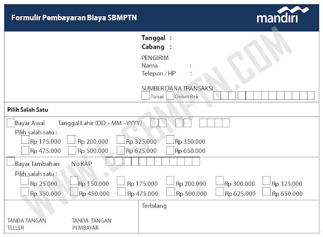 Cara Pembayaran Biaya Pendaftaran Sbmptn Melalui Kantor Cabang Bank