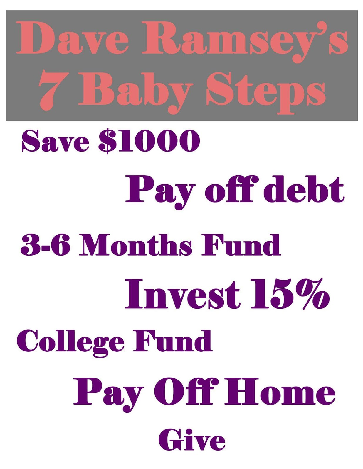 The 7 Baby Steps To Financial Freedom - Madam On A Budget