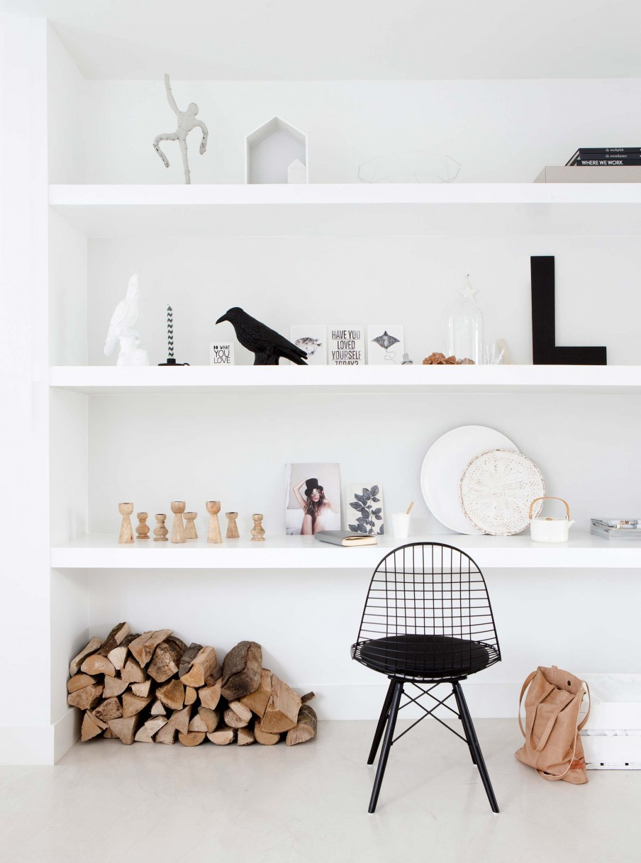estanterias, estilo nordico, decoracion nordica, silla, madera, leña, interiorismo, barcelona, alquimia deco,