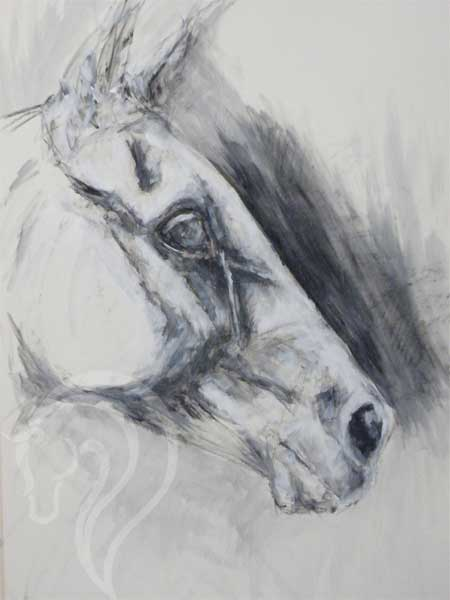 The horse is my muse. Mixed media painting. equine art uk