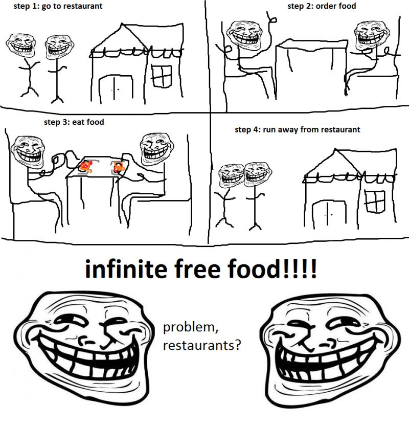 By using the dine and dash, infinite free food