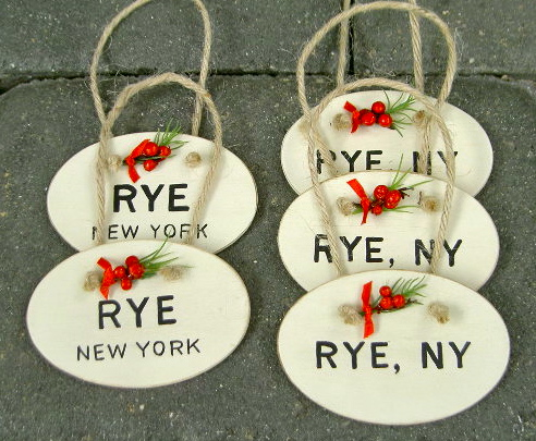 diy handpainted oval ornaments with town name